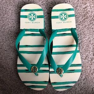 Tory Burch Green and Cream Flip Flop Sandals